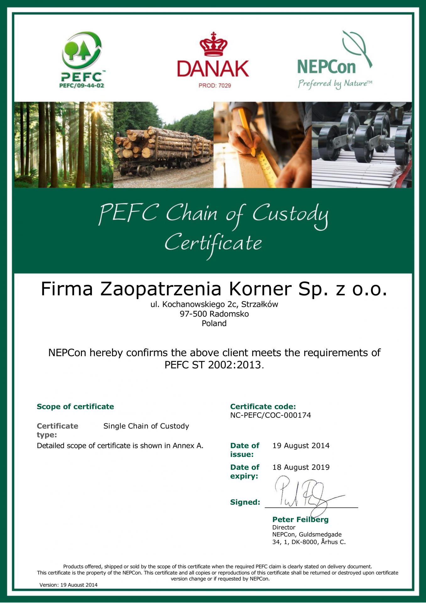 Firma Zaopatrzenia Korner Sp. z o.o. PEFC CoC cert 14 cz.1