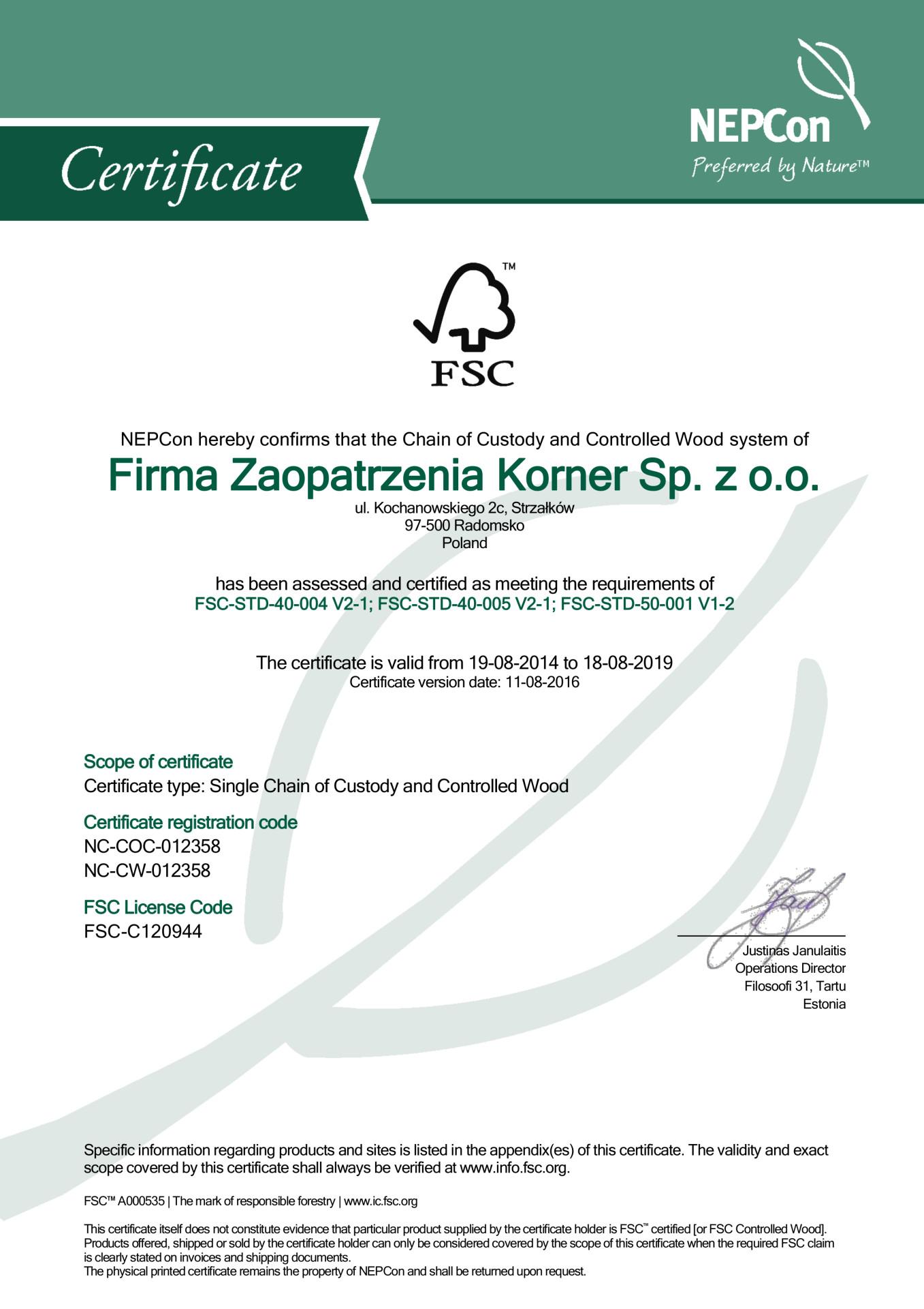 Firma Zaopatrzenia Korner Sp. z o.o. FSC COC w_CW Certificate 11.8.2016-1