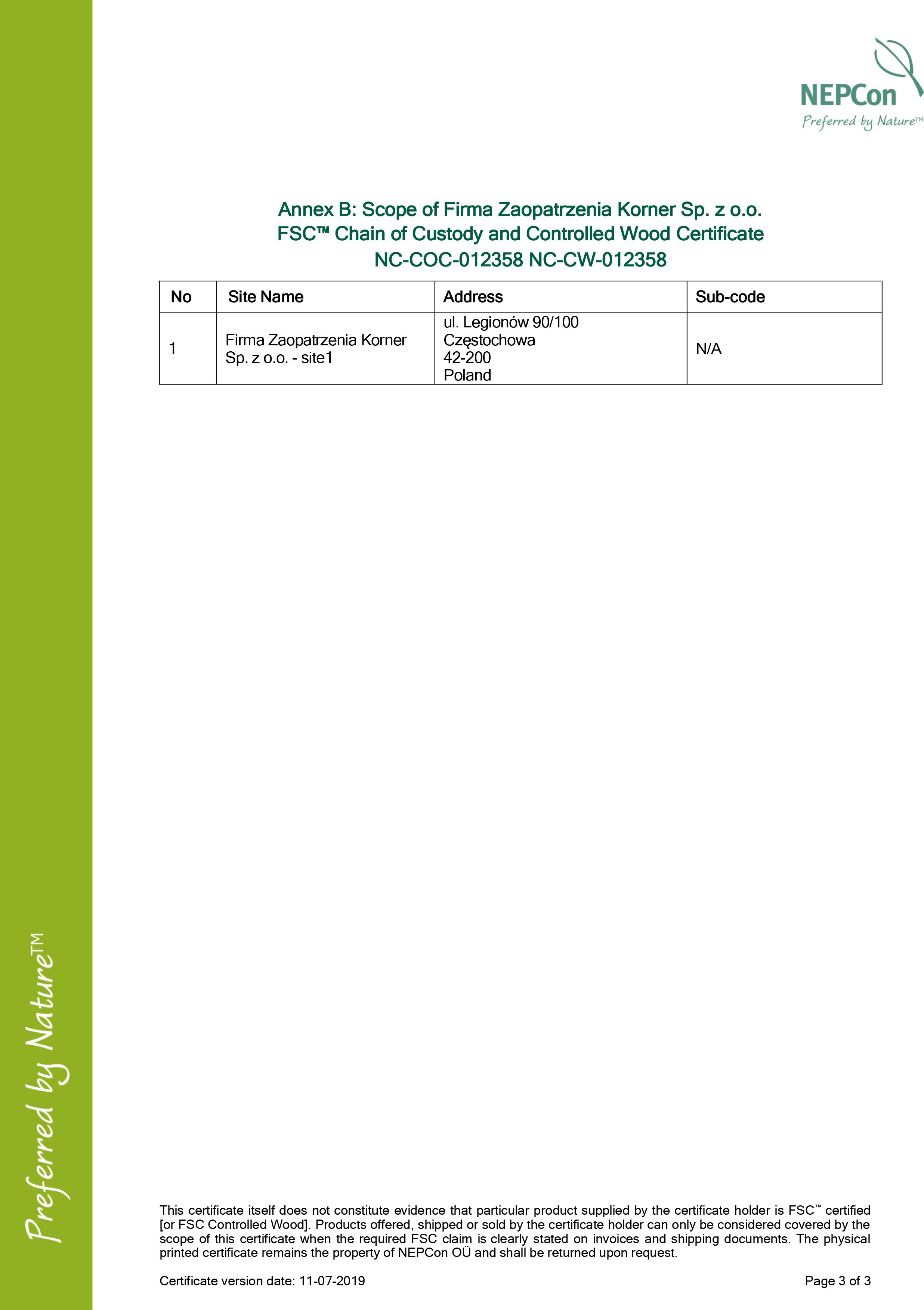 Firma Zaopatrzenia Korner Sp. z o.o. FSC COC w_CW Certificate 11.8.2016-3